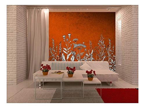 Large Wall Mural White Flowers On Vintage Red Background