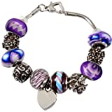 Memorial Gallery Forever Purple Remembrance Bead Pet Heart Urn Charm Bracelet, 7''