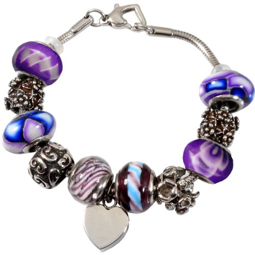 Memorial Gallery Forever Purple Remembrance Bead Pet Heart Urn Charm Bracelet, 8'' by Memorial Gallery