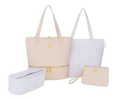 7dcb23d05c9d Amazon.com  JOY Smart   Chic Leather Handbag Set with Secret Section and  More - Blush  Shoes