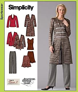 product image for Simplicity 3634 Pattern Misses/Women's Pants, Skirt & Knit Cardigan (AA 10-12-14-16-18)