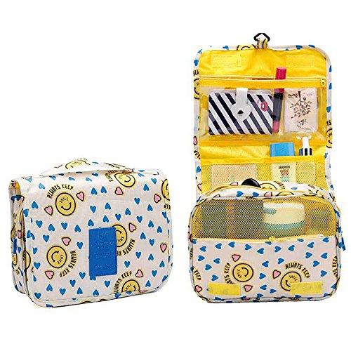 685d21441d4f Hanging Toiletry Bag,SHUKUNA Travel Makeup Cosmetic Bag Large Capacity  Waterproof Travel Hanging Organizer Bag for Women Girls (Smiley Yellow)