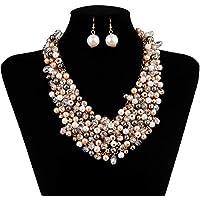 IPINK Fashion Women Big Faux Pearl Multi Strand Chunky Evening Jewelry Set