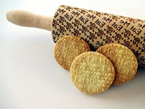 SKULLS EAT ME Embossing Rolling pin. Engraved rolling pin with skulls. Embossed cookies with sugar skulls. Dead's head. Halloween cookies. Spooky. Funny cookies