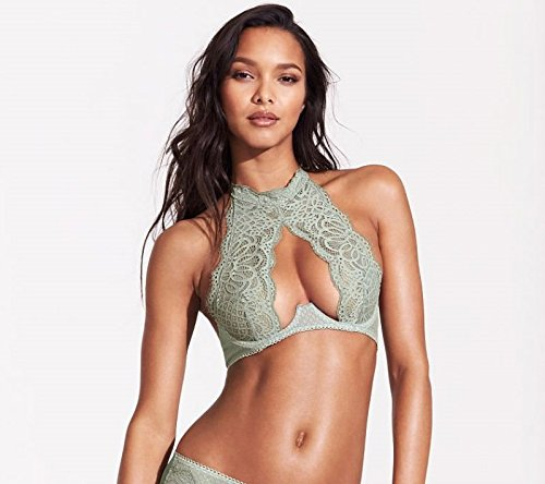 1db462cf0 Victoria s Secret Very Sexy Crochet Lace High-Neck Bra Silver Sea 34D at  Amazon Women s Clothing store