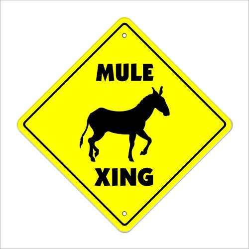 "Mule Crossing Sign Zone Xing | Indoor/Outdoor | 12"" Tall animals farm donkey jackass farmer joke funny"