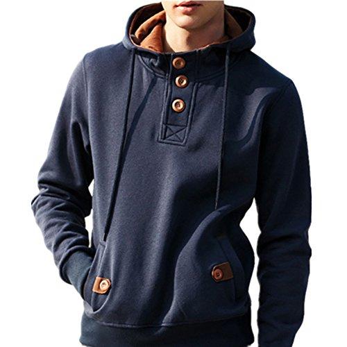 Bangerdei Men's Fashion Button Up Sweatshirt Drawstring Hoodie Pockets Jumper