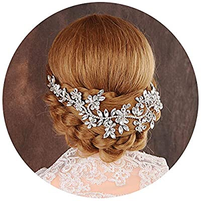 Azaleas Wedding Hair Vine Accessories Bridal Headpiece with Crystal Flower Rhinestones Jewelry for Brides and Bridesmaids