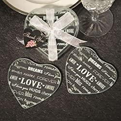 Heart Design Glass Coaster Favors (set of 2), 60