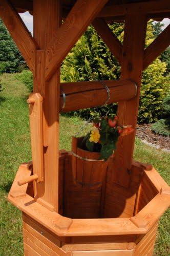 Deko-Shop-Hannusch - Pozo para jardín (madera, 2, 15 m, tejado de 1, 10 x 1, 10 m): Amazon.es: Hogar