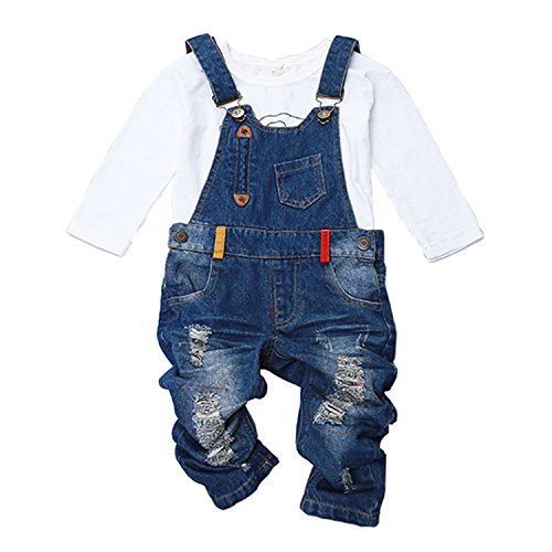 Hoared New Spring Fashion Denim Kids Overalls For 2-9Y Hole Toddler Boy Jeans Pants Jumpsuits Blue -