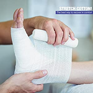 """Gauze Bandage Rolls - Pack or 24, 4"""" x 4 Yards Per Roll of Medical Grade Gauze Bandage and Stretch Bandage Wrapping for Dressing All Types of Wounds and First Aid Kit by MEDca"""