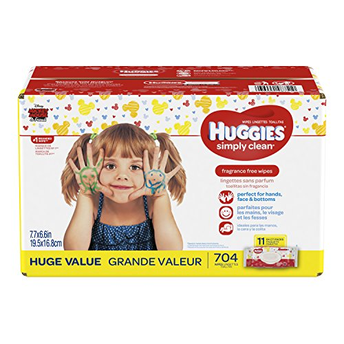 HUGGIES Simply Clean Fragrance-free Baby Wipes, Soft Pack (11-Pack, 704 Sheets Total), Alcohol-free, Hypoallergenic (Packaging May ()