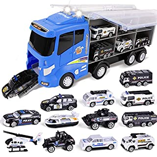 """FUN LITTLE TOYS 12 in 1 Die-cast Police Car Toy, Police Transport Car Carrier Toy for Boys & Kids, 16"""" Truck Toy with Police Cars Playsets"""