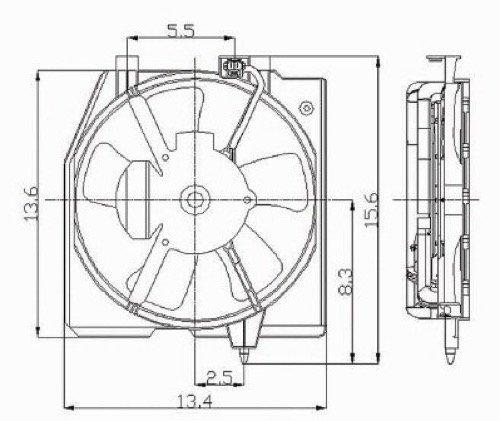 Go-Parts » Compatible 1999-2000 Mazda Protege A/C Condenser Fan - Right (Passenger) Side B595-15-035C MA3113106 Replacement For Mazda Protege -