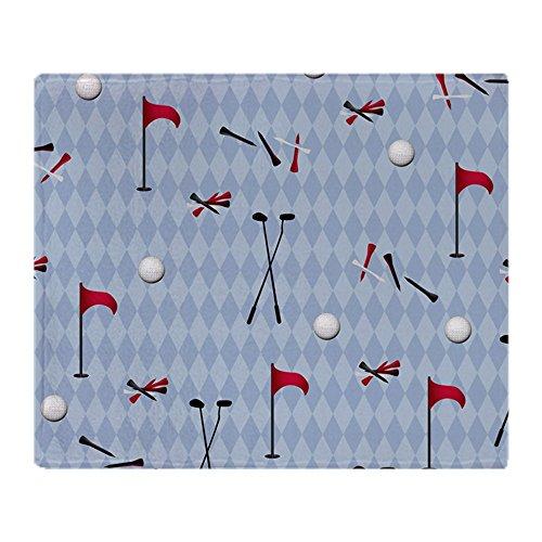 CafePress Golf Equipment On Blue Argyle Soft Fleece Throw Blanket, 50