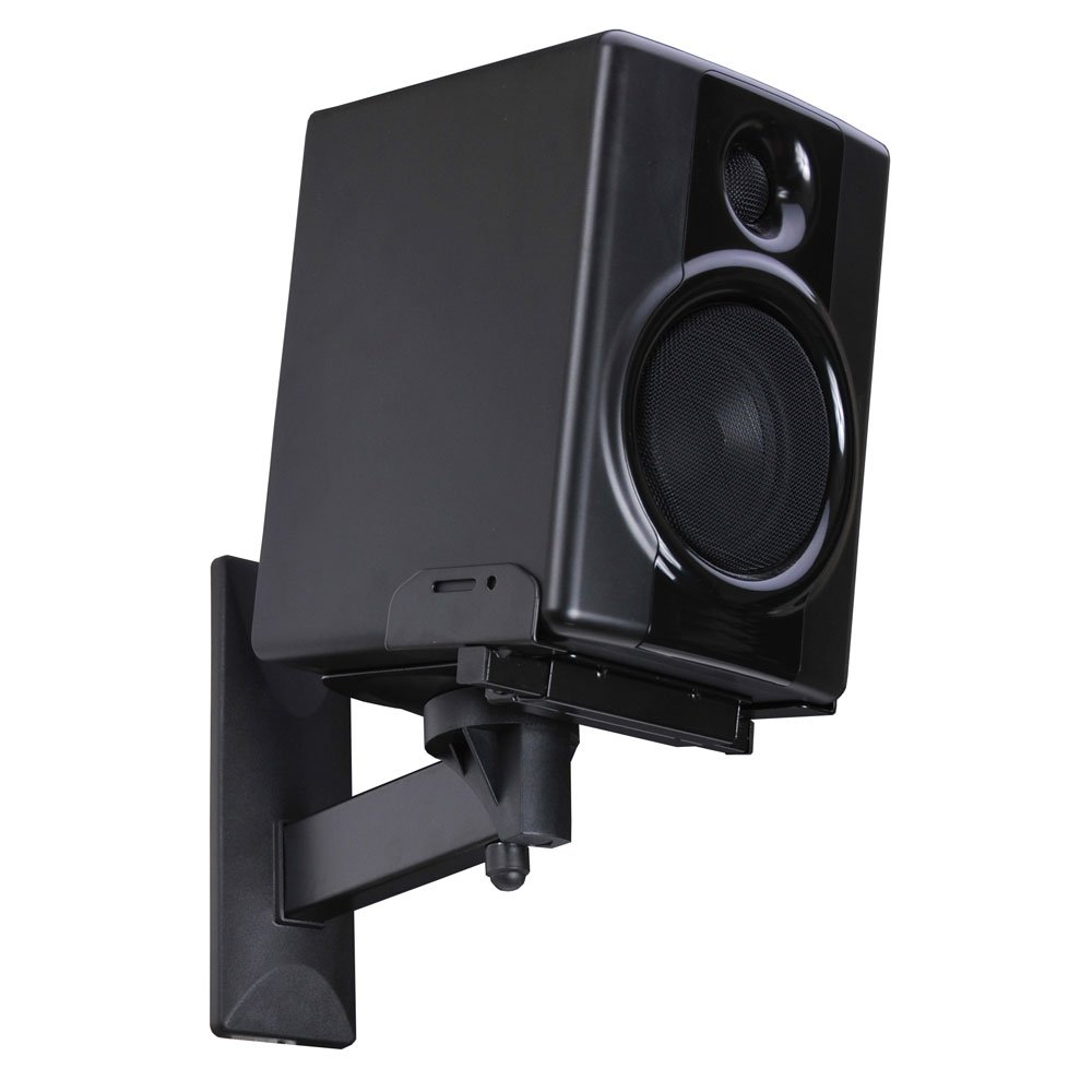amazon com videosecu side clamping bookshelf speaker wall mount rh amazon com wall mount speaker stand wall speaker mount