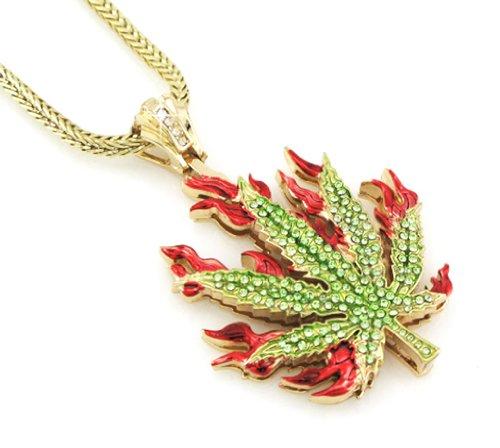 - Hip Hop Bling Gold Tone Marijuana Weed Leaf Rock The Ganja Leaf Pendant