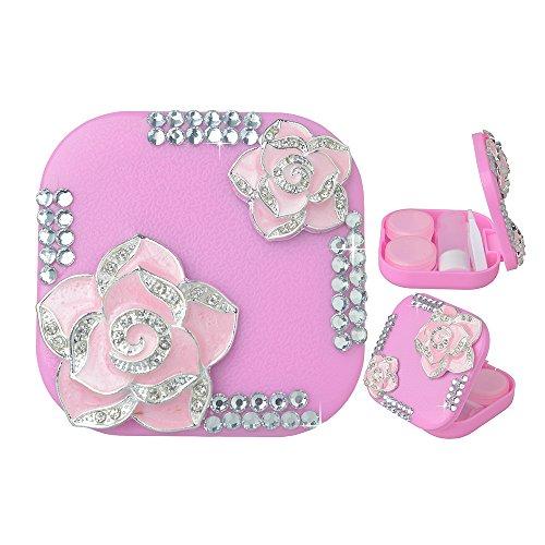 KAKA(TM) Fashion Box Kit 3D Handmade Rhinestone Bling Two Roses Crystal Design Mini Contact lenses Case