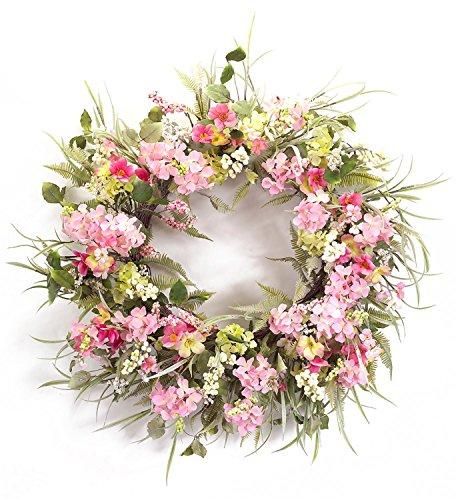 "Melrose International Shades of Pink Floral Wreath, 30"""