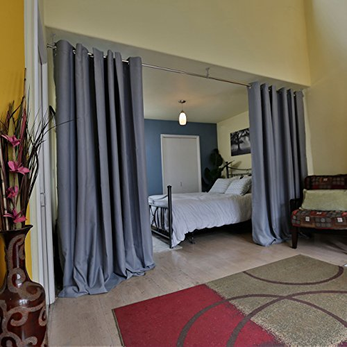 - RoomDividersNow Premium Heavyweight Room Divider Curtain, 9ft Tall x 10ft Wide (Slate Gray)