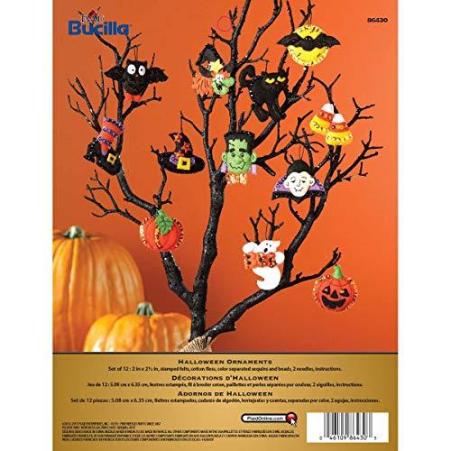 Bucilla Halloween Felt Applique Ornaments Kit (Size 2 2.5-Inch), 86430 Set of