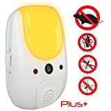 Sania Pest Repeller Plus+ Effective Sonic Defense Repellant Keeps Roaches, Spiders, Mosquitos, Mice, Bed Bugs Away - Electronic Ultrasonic Deterrent for Inside Your Home - Relaxing Amber Night Light