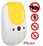 SANIA Pest Repeller - Electronic ultrasonic deterrent for inside your home, features relaxing amber night light - effective sonic defense repellant keeps roaches mosquitoes mice bugs away (White)