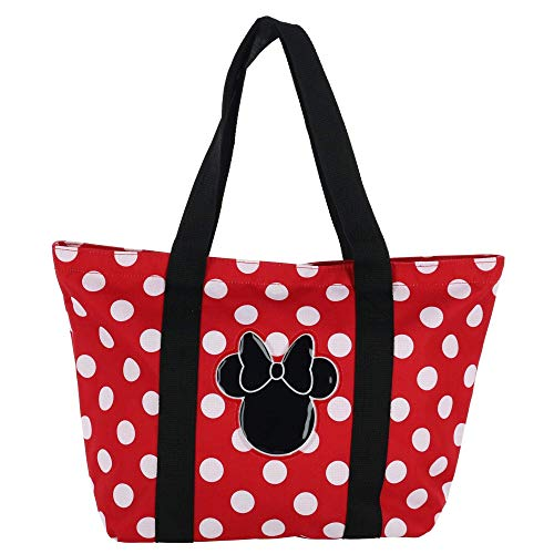 Disney Women's Minnie Mouse Polka Dot Canvas Tote Bag]()