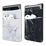 Two Pack Phone Card Holder uCOLOR Stretchy Lycra Wallet Pocket Credit Card ID Case Pouch Sleeve 3M Adhesive Sticker on iPhone Samsung Galaxy Android Smartphones (Black White Marble) ¡­