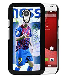 Lionel Messi 4 Black Abstract Personalized Picture Motorola Moto G 2nd Generation Case