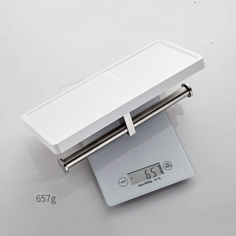 ZMIN Doble Rollo Soporte De Papel Higi/énico,alargar Acero Inoxidable Plastico Adhesivo Soporte De Rollo De Papel De Tejido Higi/énico con Tel/éfono Estante Blanco