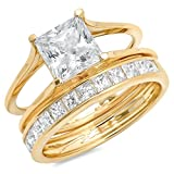 Clara Pucci 3.3 CT Princess Cut Pave Halo Bridal Engagement Wedding Ring band set 14k Yellow Gold