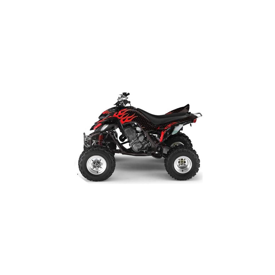AMR Racing Yamaha Raptor 660 ATV Quad Graphic Kit   Diamond Flames Black, Red