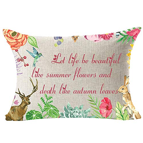 Rabbit Deer Let Life Be Beautiful Like Summer Flowers and Death Like Autumn Leaves Cotton Linen Lumbar Throw Waist Pillow Case Decorative Cushion Cover Pillowcase Sofa 12x20 inches