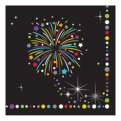 Creative Converting Paper Beverage Napkins, Fireworks Celebration Sparkle, 16-Count ()