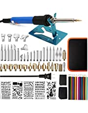 Wood Burning Kit,71PCS Professional Pyrography Pen Set Adjustable Temperature Wood Burning Soldering Iron Tools Set,35 Woodburning Tips + 7 Stencils + 18 Pencils + Stand + Carry Case for WoodCarving/Embossing/Soldering