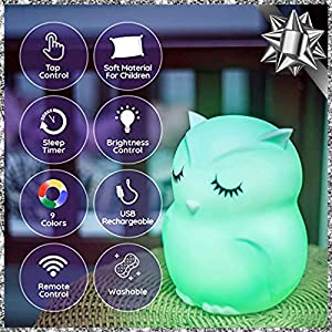 LED Nursery Night Lights for Kids: Baby Girl Gifts, Lumipets Cute Animal Silicone Baby Night Light with Touch Sensor – Portable and Rechargeable Color Changing Lamps for Bedrooms