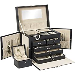 Best Choice Products Leather Jewelry Box Organizer Storage with Mini Travel Case (Black)
