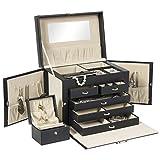 Best Choice Products Leather Jewelry Box Organizer Storage Mini Travel Case (Black)