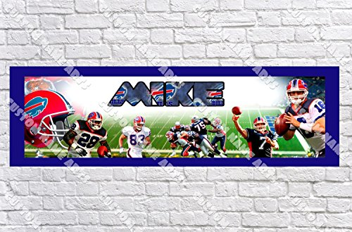 Personalized Buffalo Bills Banner - Includes Color Border Mat, With Your Name On It, Party Door Poster, Room Art Decoration - Customize