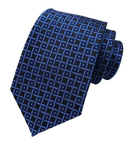 Men Blue Black Textured Slik Tie Novelty Narrow Geometry Office Matching Necktie