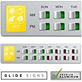 Glide Signs Pet Food Organizer – Feeding Reminder for Rabbit Fish Hamster - Daily Indicator Sign - Feed the Chickens Turtle Supplies - Fridge Magnets Double Sided Tape - Care for Your Pets with