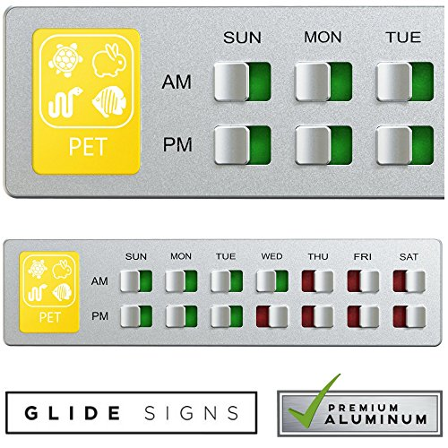 Pet Food Organizer – Feeding Reminder for Rabbit Fish Hamster - Daily Indicator Sign - Feed the Chickens Turtle Supplies - Fridge Magnets Double Sided Tape - Care for Your Pets with Glide Signs