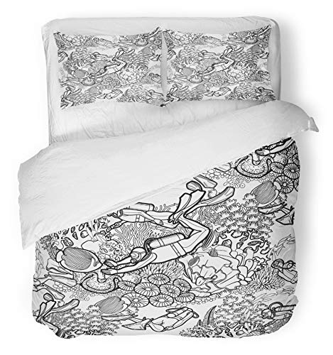 Emvency 3 Piece Duvet Cover Set Brushed Microfiber Fabric Breathable Graphic Coral Reef and Scuba Divers Drawn in Line Marine Coloring Book Page Bedding Set with 2 Pillow Covers Full/Queen Size