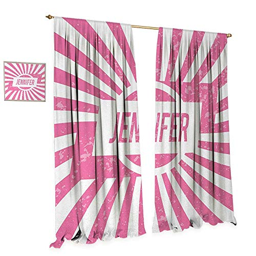 Anniutwo Jennifer Waterproof Window Curtain One of The Most Popular Names for Newborn American Girls in Retro Design Blackout Draperies for Bedroom W108 x L84 Pale Pink and White - Jennifer Curtain Panel Set