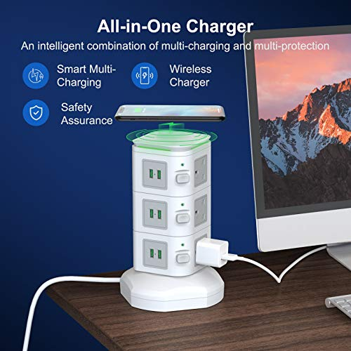 bedee Tower Extension Lead, Surge Protector Extension Lead with 6 USB Slots and 9 Outlet Plugs, Power Strip Tower with 10W Fast Wireless Charger, 6.5ft Extension Cord