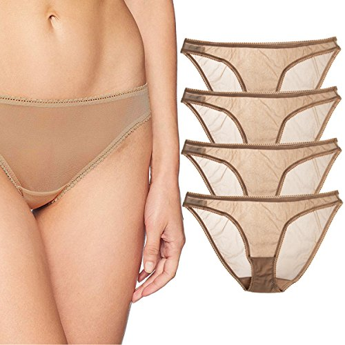(OnGossamer 4 Pack Plus Size Lace Panties for Women Pack Sexy Underwear Women Bikini Ladies)