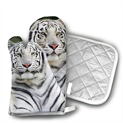 White Tiger Wildcat Zoo Animal Oven Mitts Cotton Quilting Lining, Oven Gloves and Pot Holders Kitchen Set for BBQ Cooking Baking, Grilling, Barbecue,