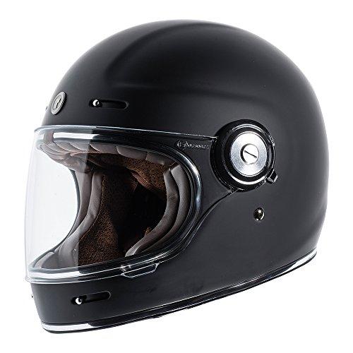 TORC Unisex-Adult T11523 Retro Fiberglass Full-Face Style Motorcycle Helmet (Matte Black, Medium), 1 Pack ()